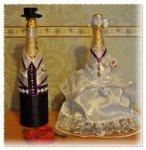 украшение лентами бутылки шампанского +на свадьбу
